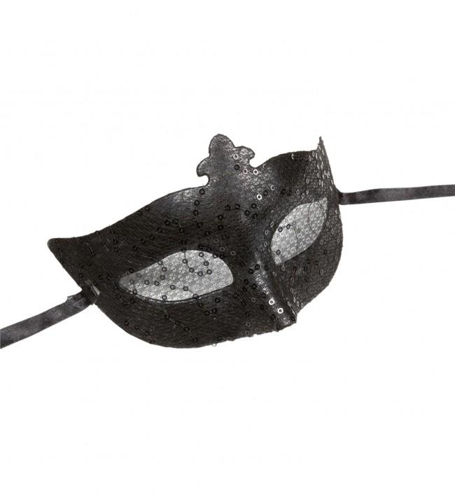 Černá škraboška s flitry