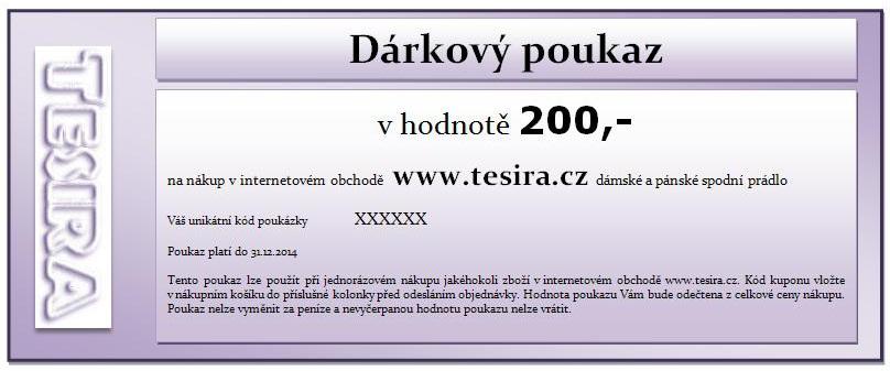 Dárkový poukaz v hodnotě 200 korun