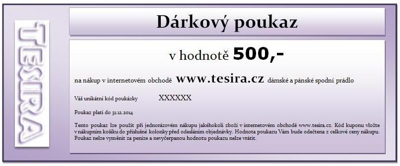 Dárkový poukaz v hodnotě 500 korun