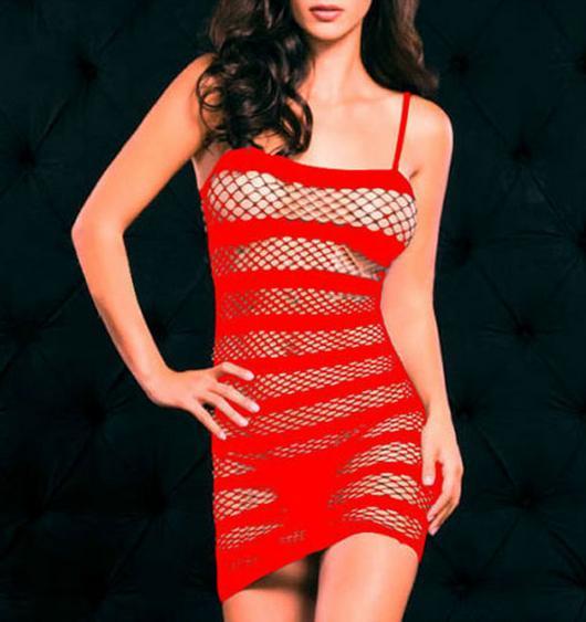 Sexy síťované minišaty červené